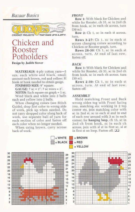 ♥ Un Poquito de Todo: patron agarraderas gallo y gallina crochet ...