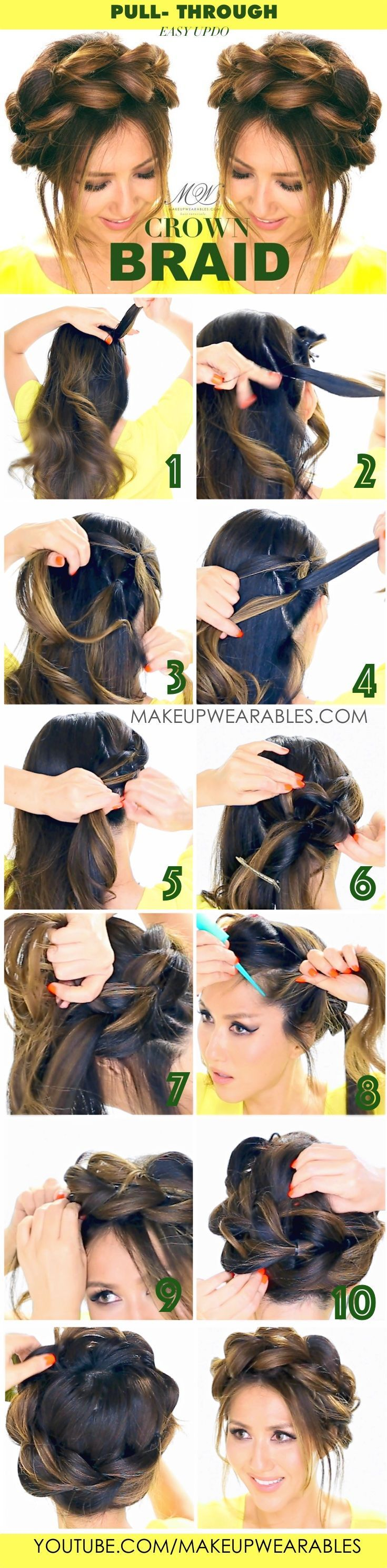 Quick and easy updo hairstyle pullthrough crown braid