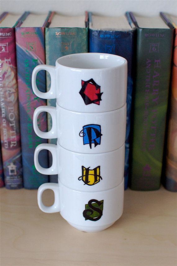 Harry Potter Hogwarts Houses Crest Stacking Mug by abirdinthehand, $35.00