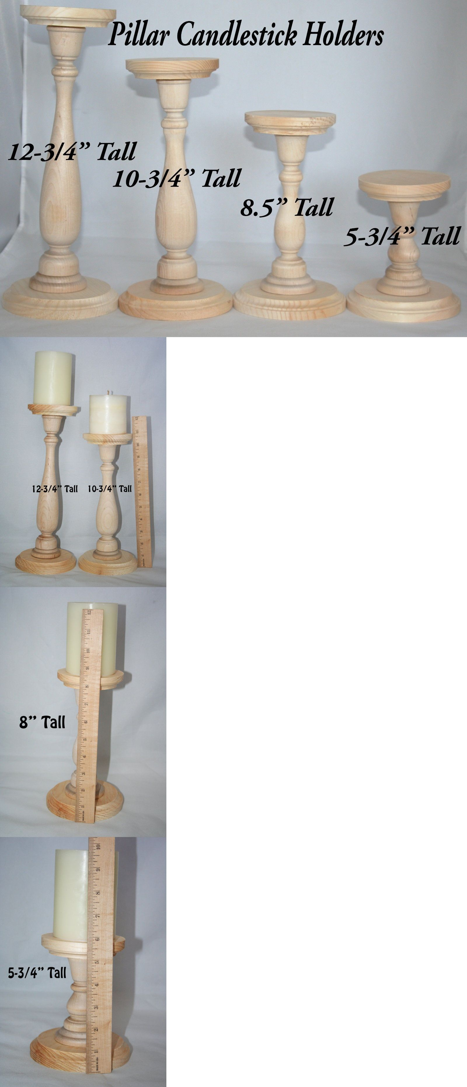 Candle Holders And Accessories 16102 Unfinished Wood Pillar Candlestick Holders Tall Candlestick Cheap Candle Holders Candle Sticks Wedding Tall Candlesticks
