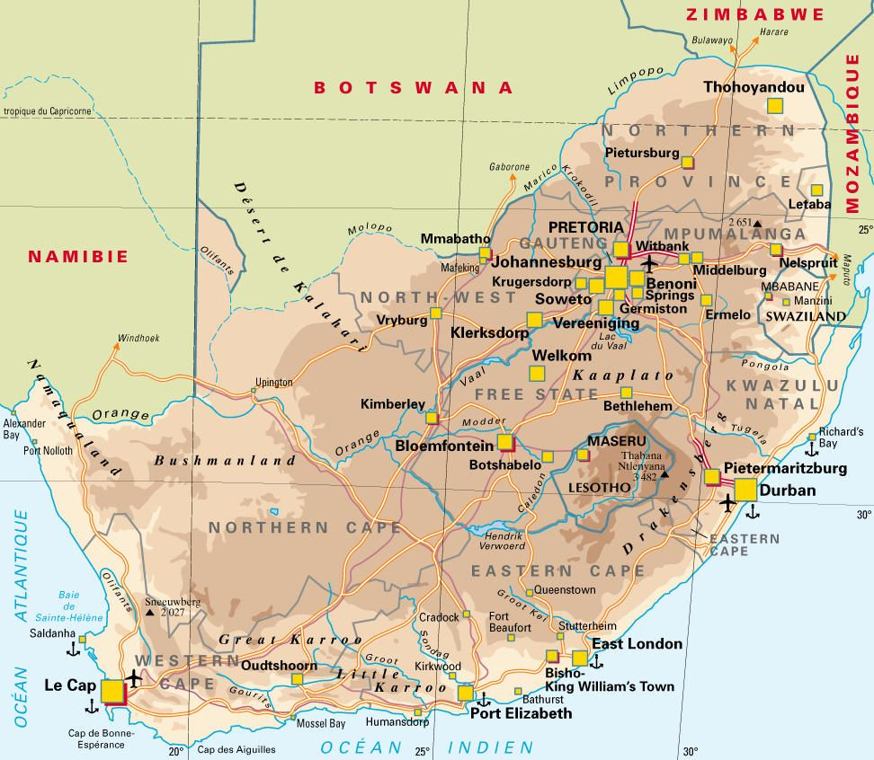 Carte Afrique Du Sud Carte Afrique Du Sud Carte Afrique