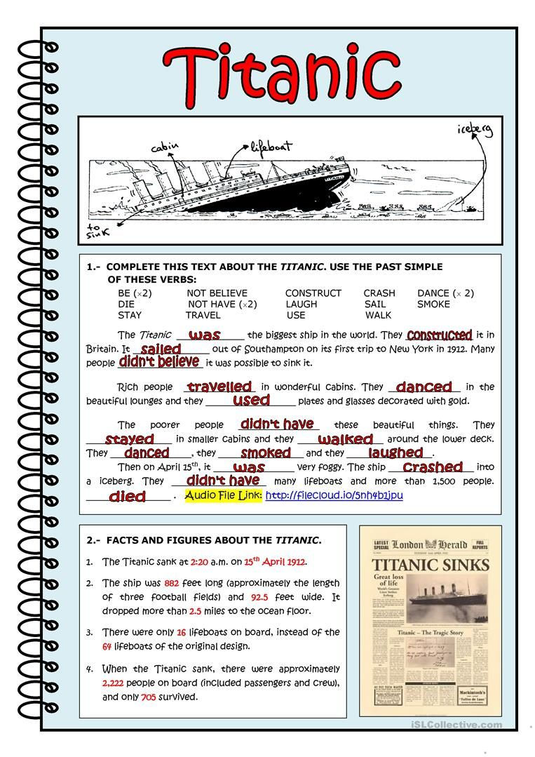 Titanic Worksheet Free Esl Printable Worksheets Made By Teachers Reading Comprehension Lessons Reading Comprehension Worksheets Learn English [ 1079 x 763 Pixel ]