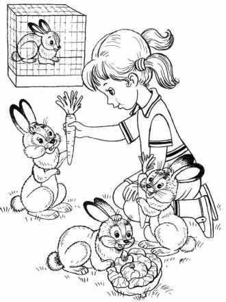 Дівчинка годує зайченят | Раскраски