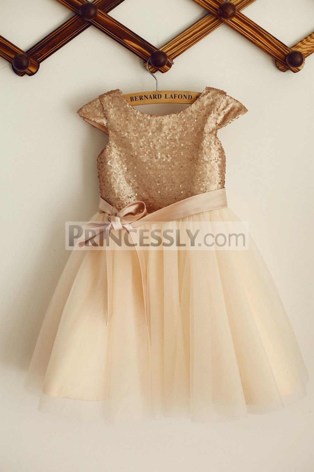 65880477480 Princessly.com-K1003384-Cap Sleeves Champagne Sequin Tulle Wedding Flower  Girl Dress with belt-31