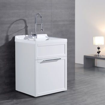 Daisy White Vanity Style Utility Sink With Faucet By New Waves Laundry Bathroom Combo Utility Sink Sink Faucets