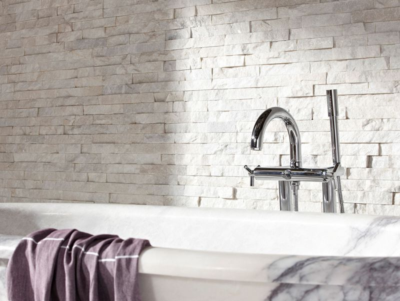 White Quartz Maxi Split Face 15x60 Wall Tile. An Interlocking Natural Stone  Tile Of White Quartz With A Matt Finish And Riven Texture.
