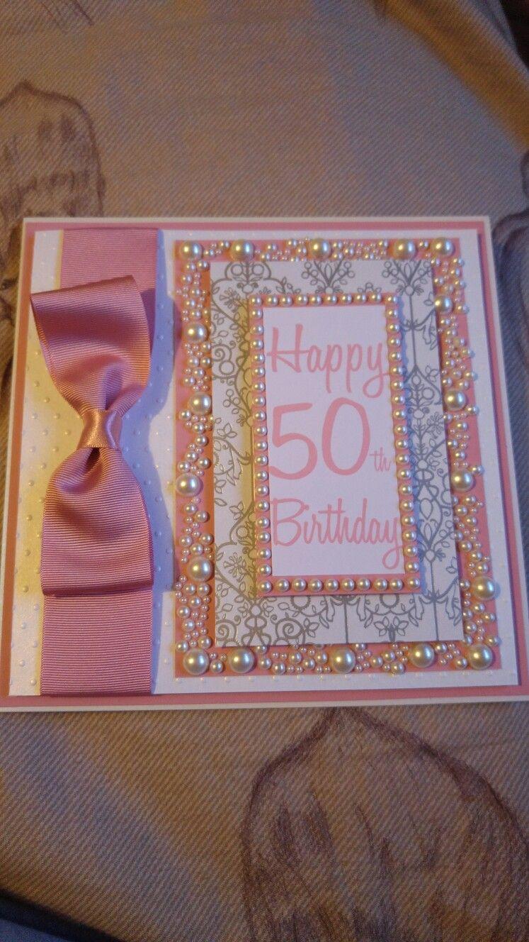 Th birthday card handmade with pink card and pearls yolandas