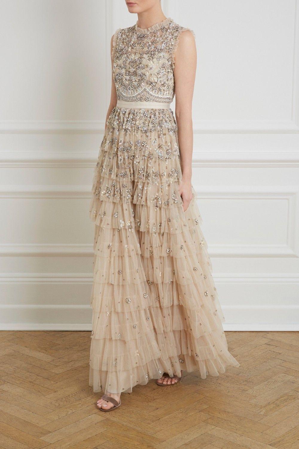 Needle u thread pearlescent gown boho bohemian ethereal ruffle