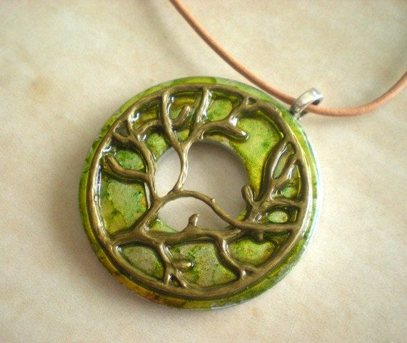 Tree of Life Necklace: Key Lime - Washer Necklace - Unique Jewelry - Tree Jewelry - Fantasy Jewelry - Free Shipping Worldwide. $25.00, via Etsy.