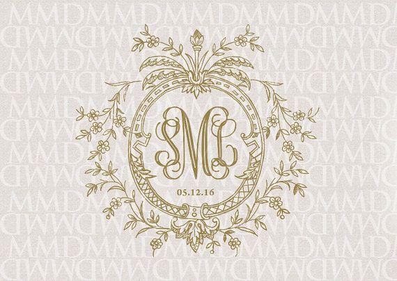 Floral Vines Wreath Wedding Monogram - Wedding Logo - Wedding Crest ...