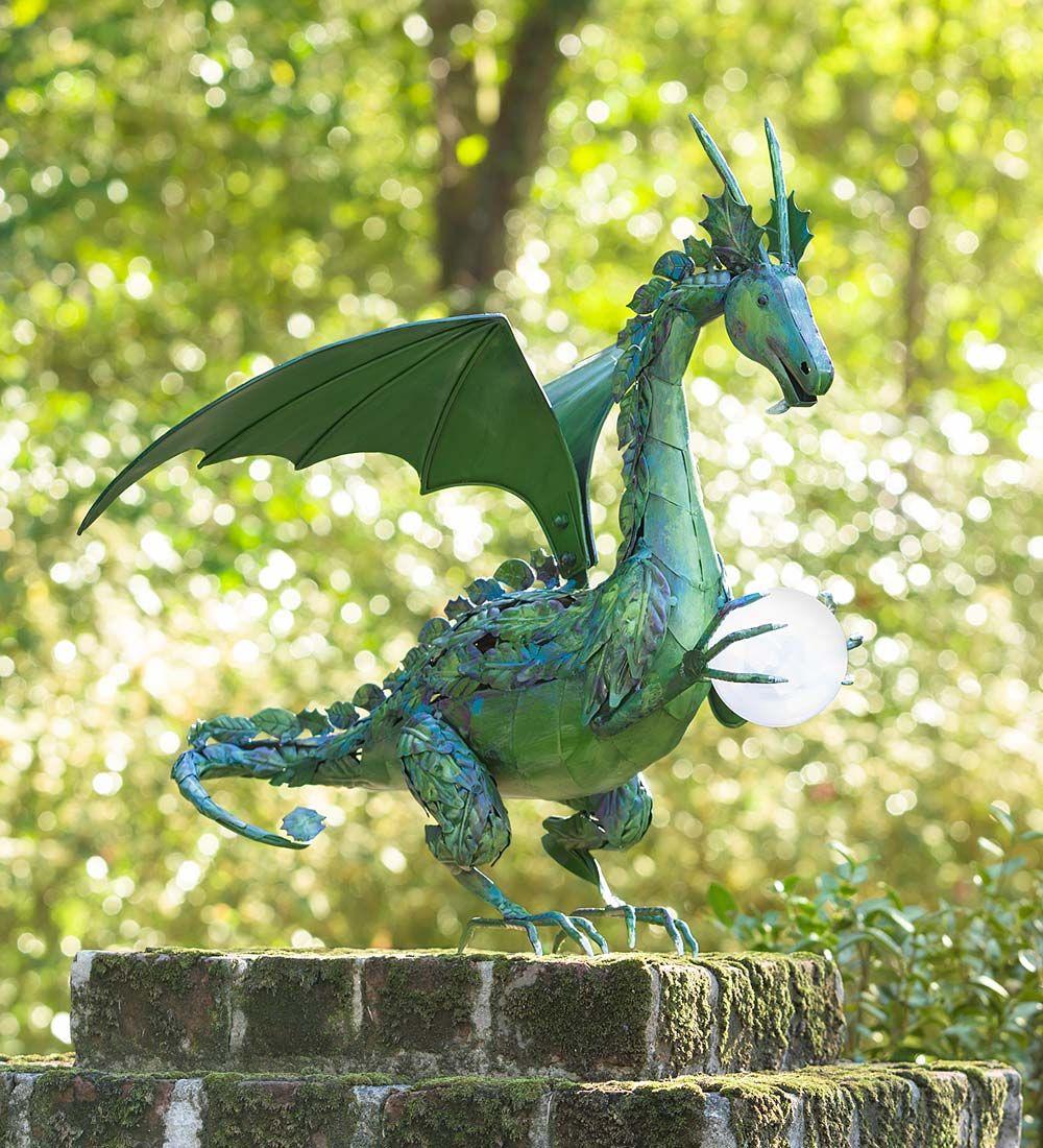 Green Dragon Statue with Solar Pearl   Decorative Garden Accents ...