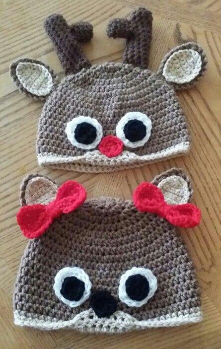 Cute crochet deer beanies I finished up last night ;) | crochet ...