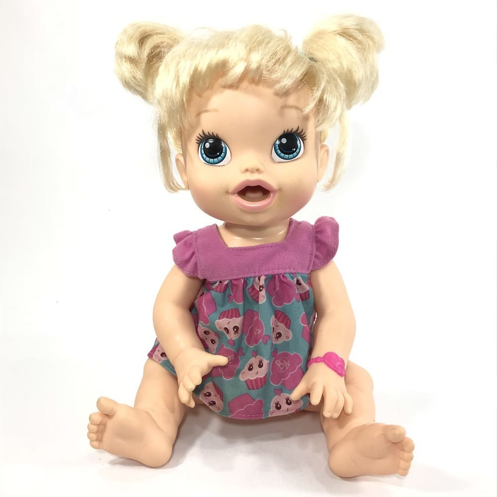 2013 Blonde Pigtails Baby Alive Bilingual All Gone Doll Cupcake Cutie Baby Alive Cutie Baby