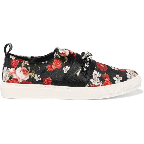 Mother of Pearl Charlie embellished printed velvet slip-on sneakers (€170)  ❤ liked on Polyvore featuring shoes, sneakers, black, black sequin shoes,  black ...