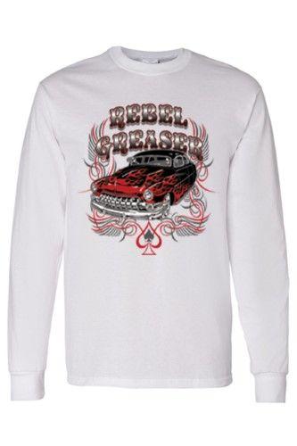Men's Long Sleeve Shirt Rebel Greaser, Size: XXL, White