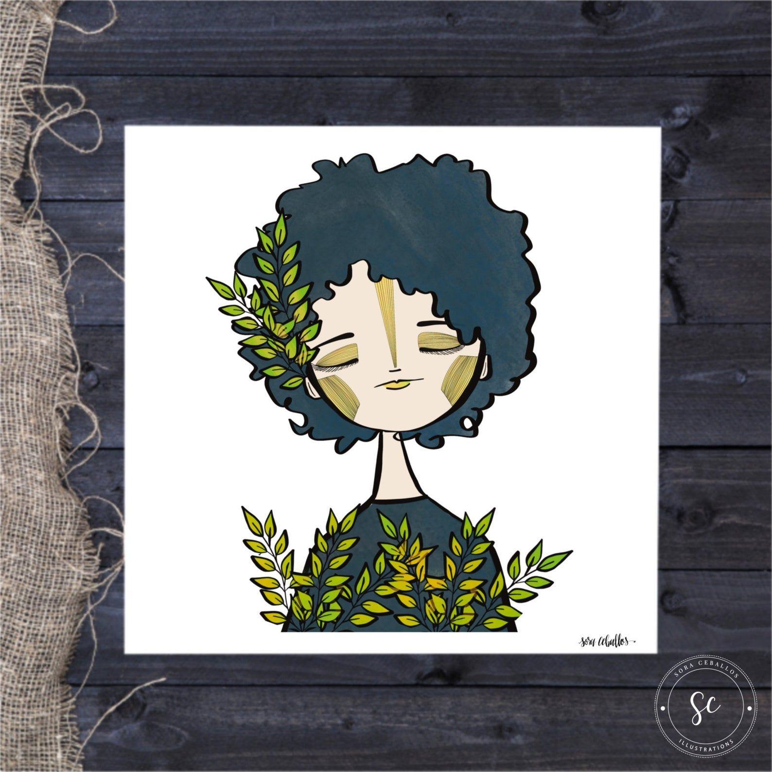 Peyton, Whimsical Girl, Print, Portrait, Illustration, Art, Drawing