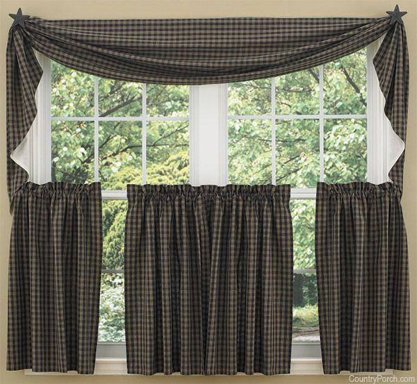 """Sturbridge Tier Window Treatments: Black Sturbridge Curtain Tiers 72"""" X 24"""""""