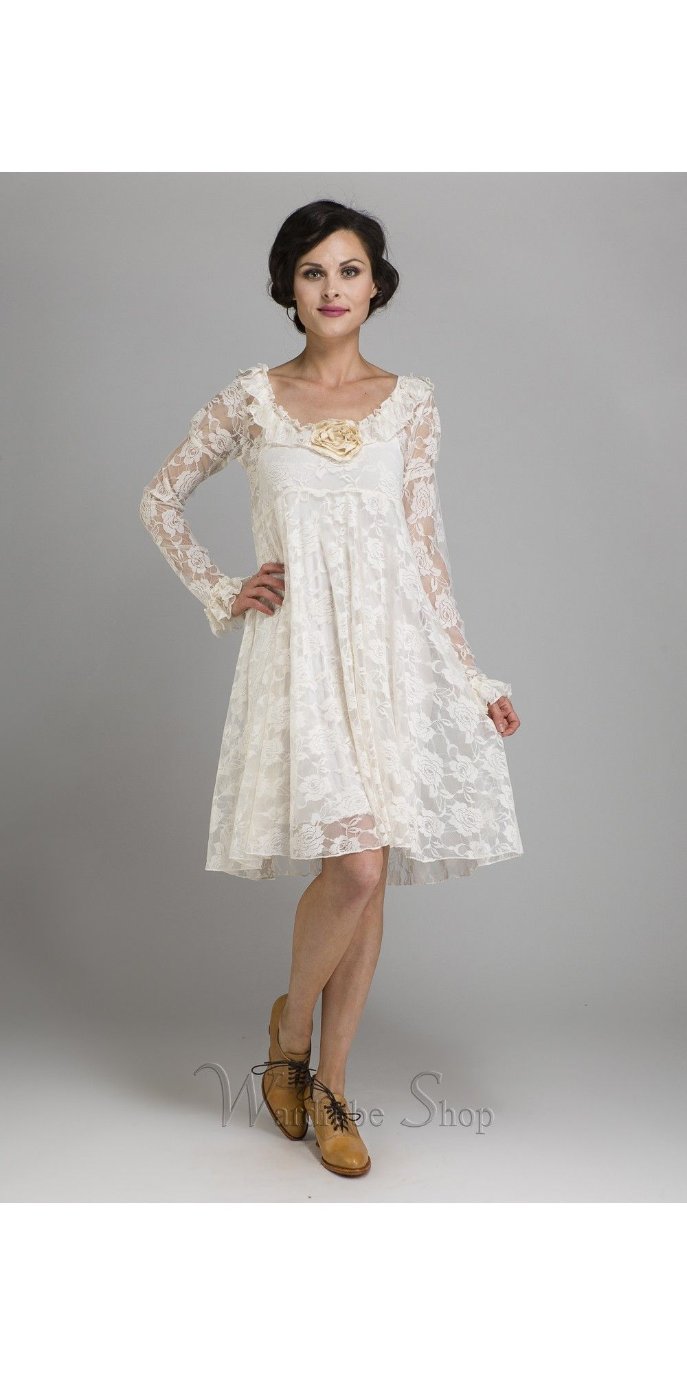 62433ea5fd5 This long-sleeved lace Camelot Romantic Flitry Dress by Marrika Nakk mixes  a youthful silhouette with classic elegance