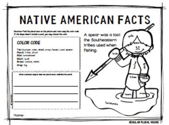 Native American Facts Plural Nouns Color By Code