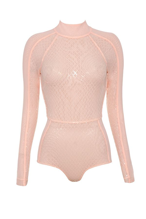 7077426a6f Clothing   Bodysuits    Marnel  Blush Sequinned Long Sleeve Bodysuit ...