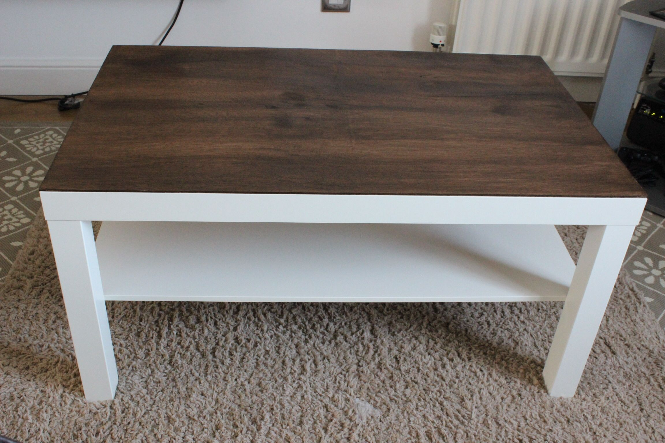 An Ikea Lack Coffee Table Hack A Stained Piece Of Plywood Makes Such Difference For More Diy Ideas Check Out My Blog