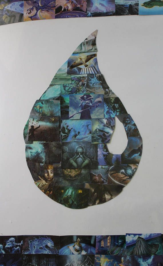 Magic The Gathering Blue Mana Island Collage Upcycled