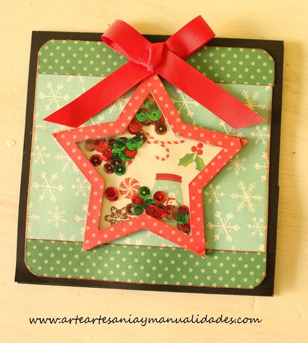 Arte artesania y manualidades tarjetas navidad scrapbooking shaker card cards pinterest - Tarjeta navidad manualidades ...