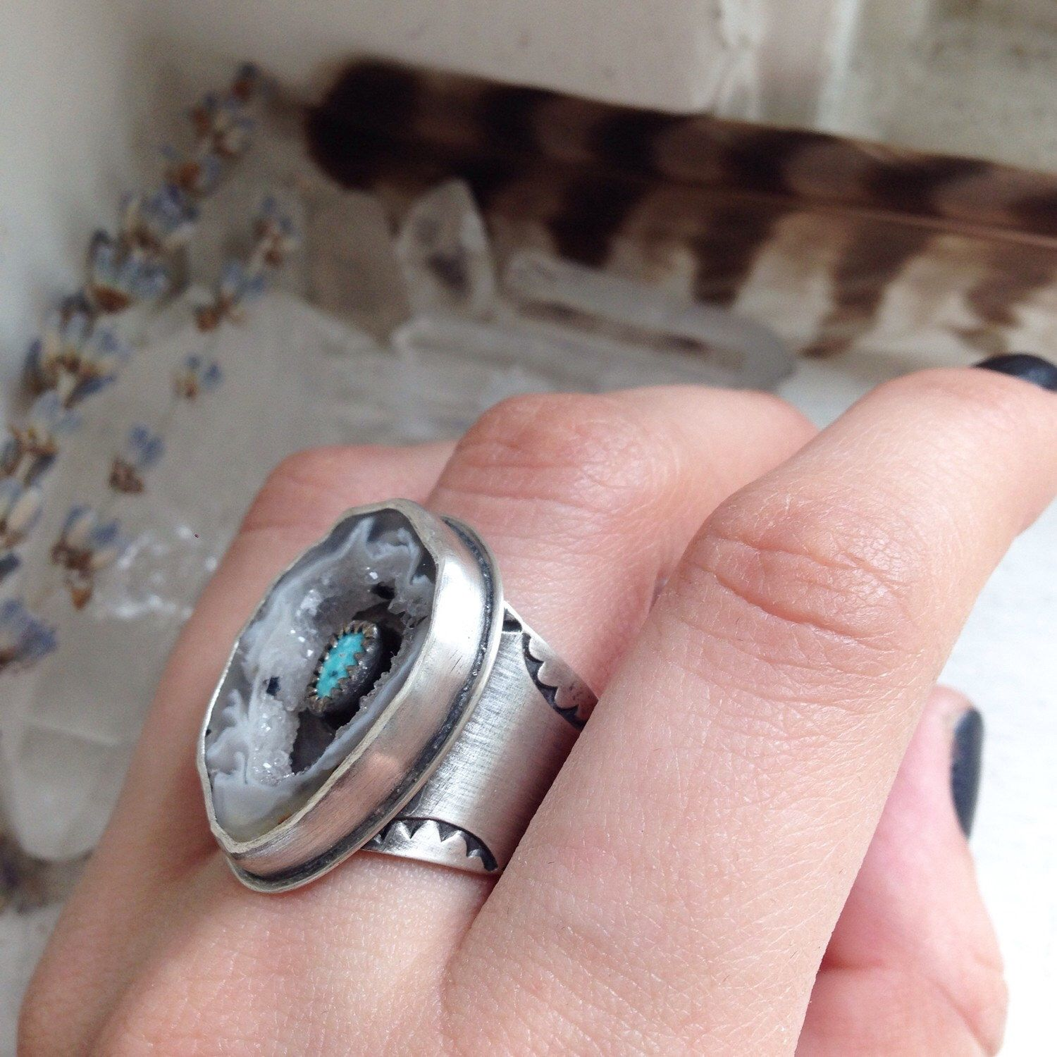 Crystal Cavern Ring - Natural Blue Moon Turquoise Geode Slice ...