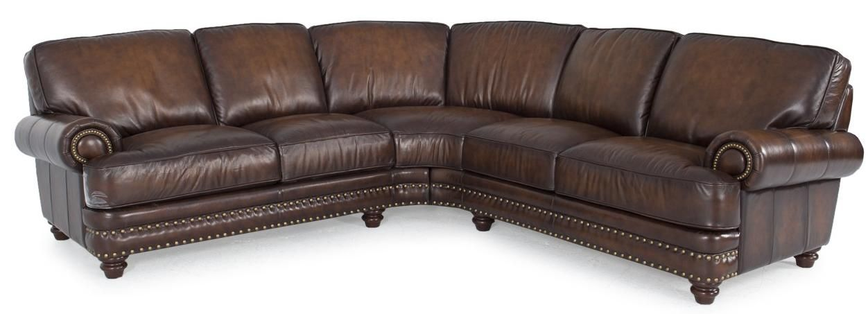 Westbury Leather Traditional Dark Brown Leather Sectional