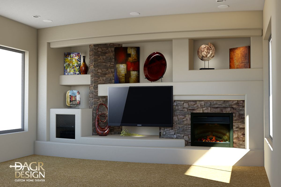 custom drywall entertainment centers 3d design rendering of a custom entertainment center media wall for - Media Wall Design