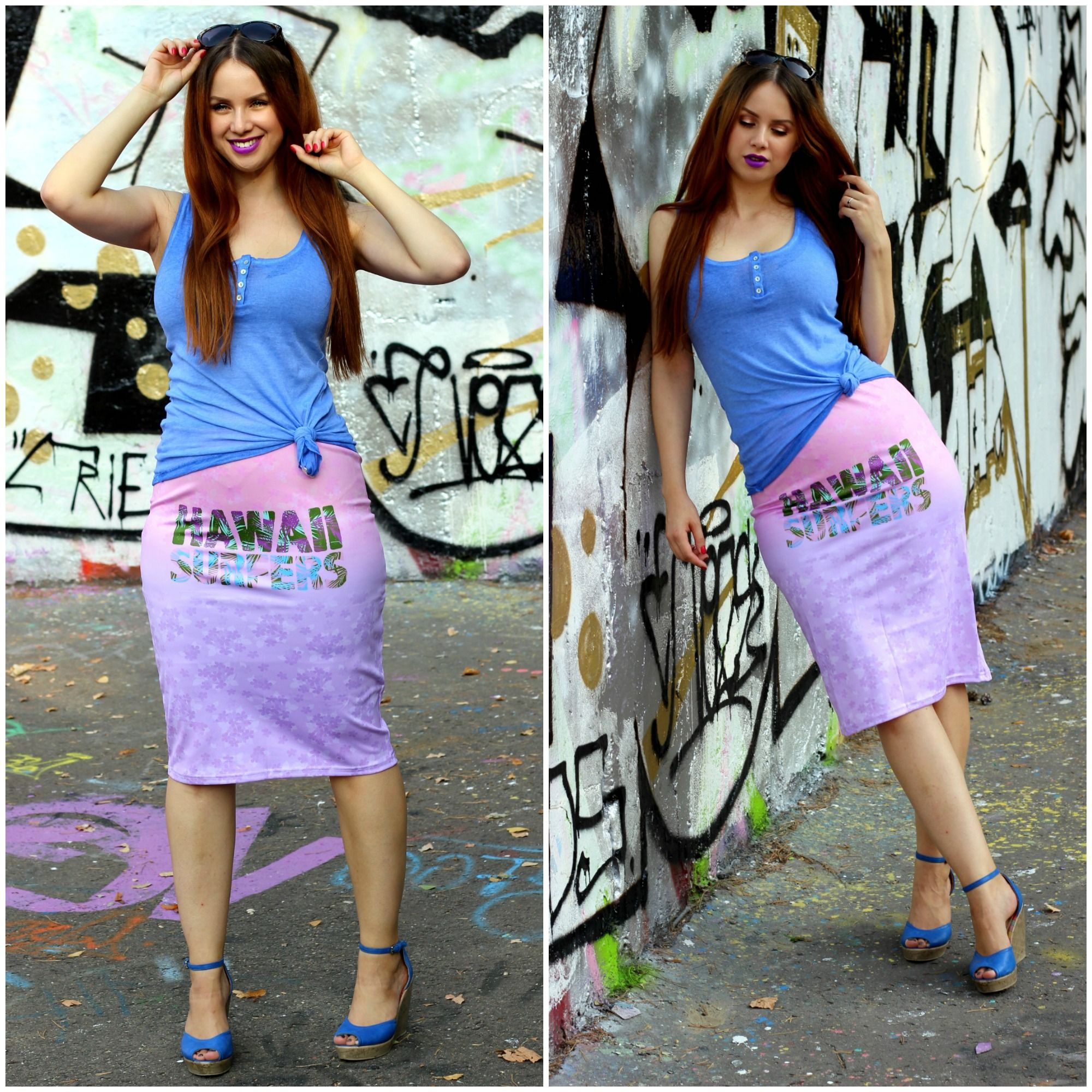 curvy summer pencil skirt blue pink casual