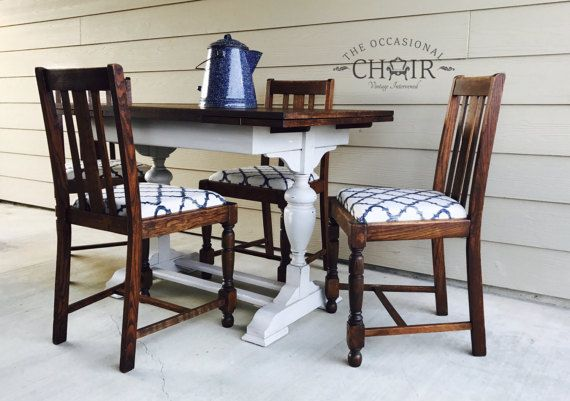 SOLD - Vintage 1940's Oak Dining Table and 4 Chairs