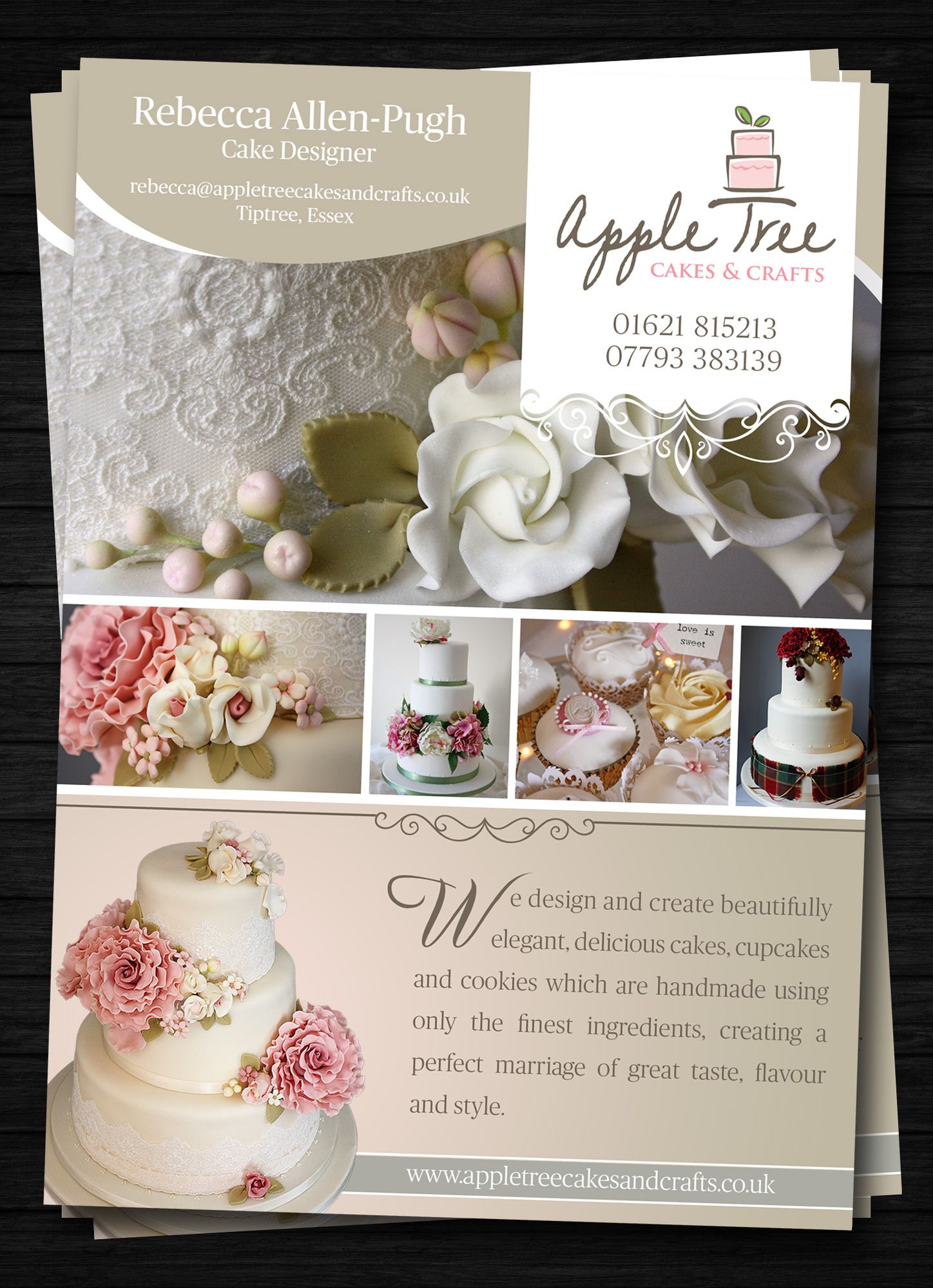 create the next postcard flyer or print for apple tree cakes