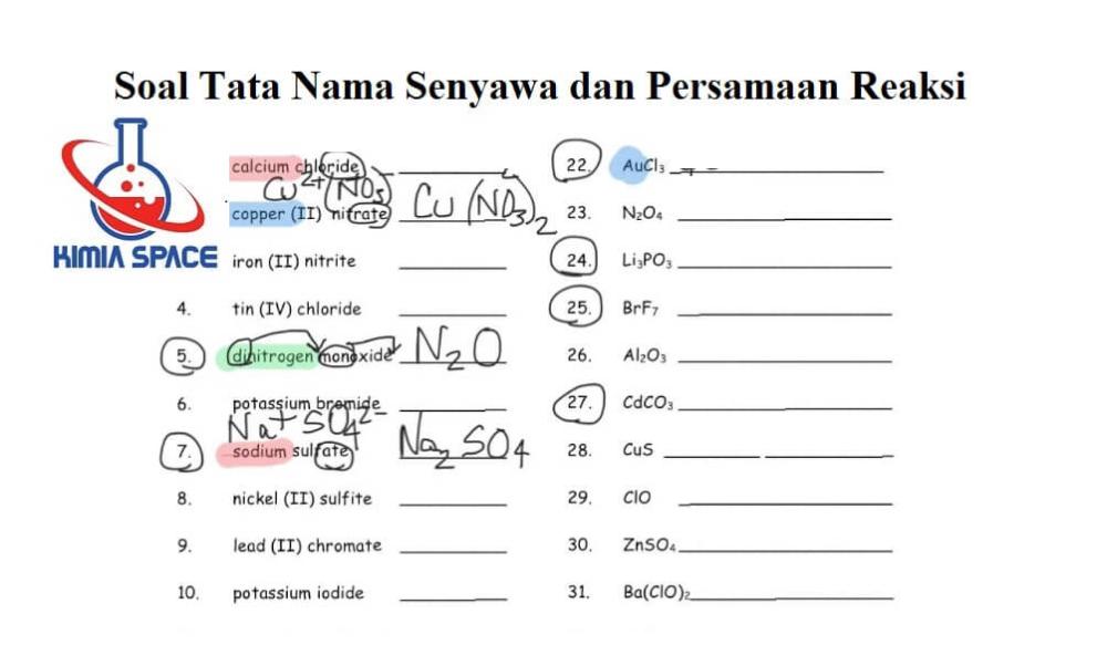 50 Soal Tata Nama Senyawa Dan Persamaan Reaksi Pembahasan Nama Persamaan Rumus Kimia