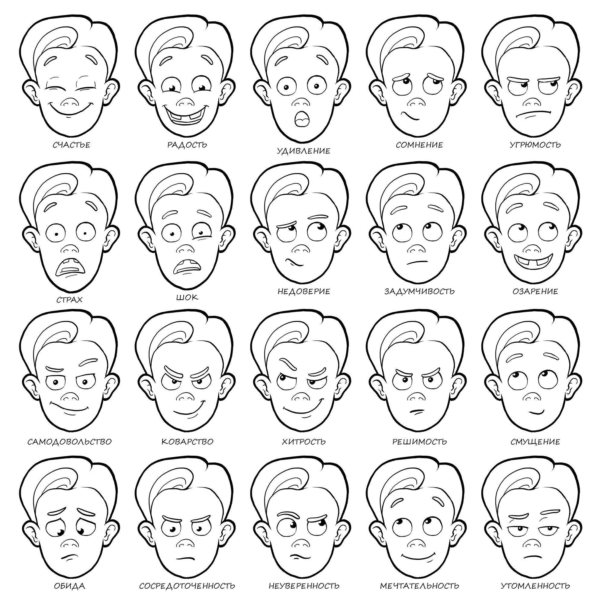 Мимика лица в картинках для детей и их описание