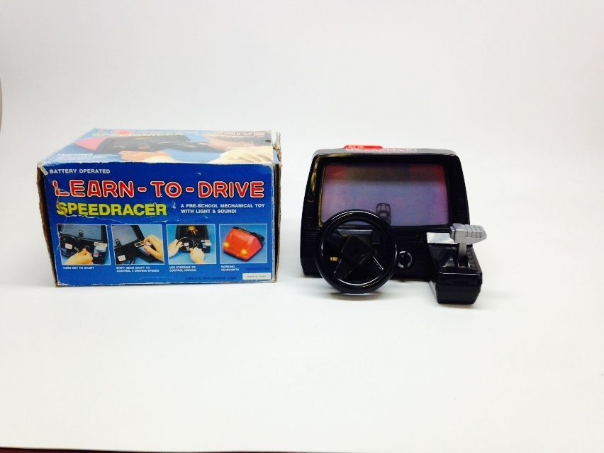 Vtg 80s Learn To Drive Speed Racer Dashboard Racing Toy Rare W Box No Display