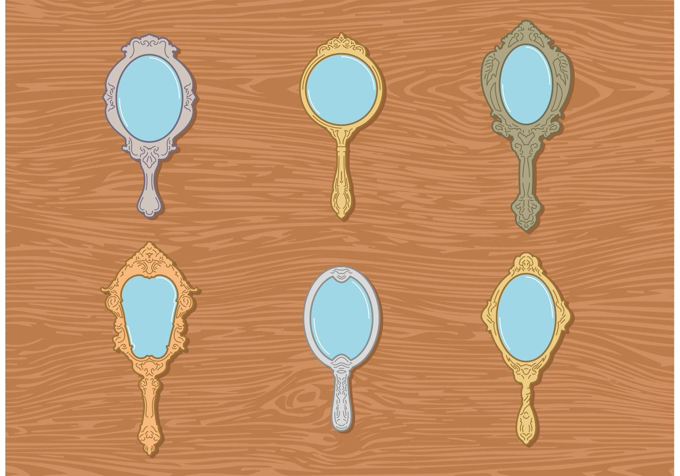 6 Vintages Antique Style Hand Mirror Vector With A Minimal Style In 2020 Mirror Vector Hand Mirror Mirror Illustration