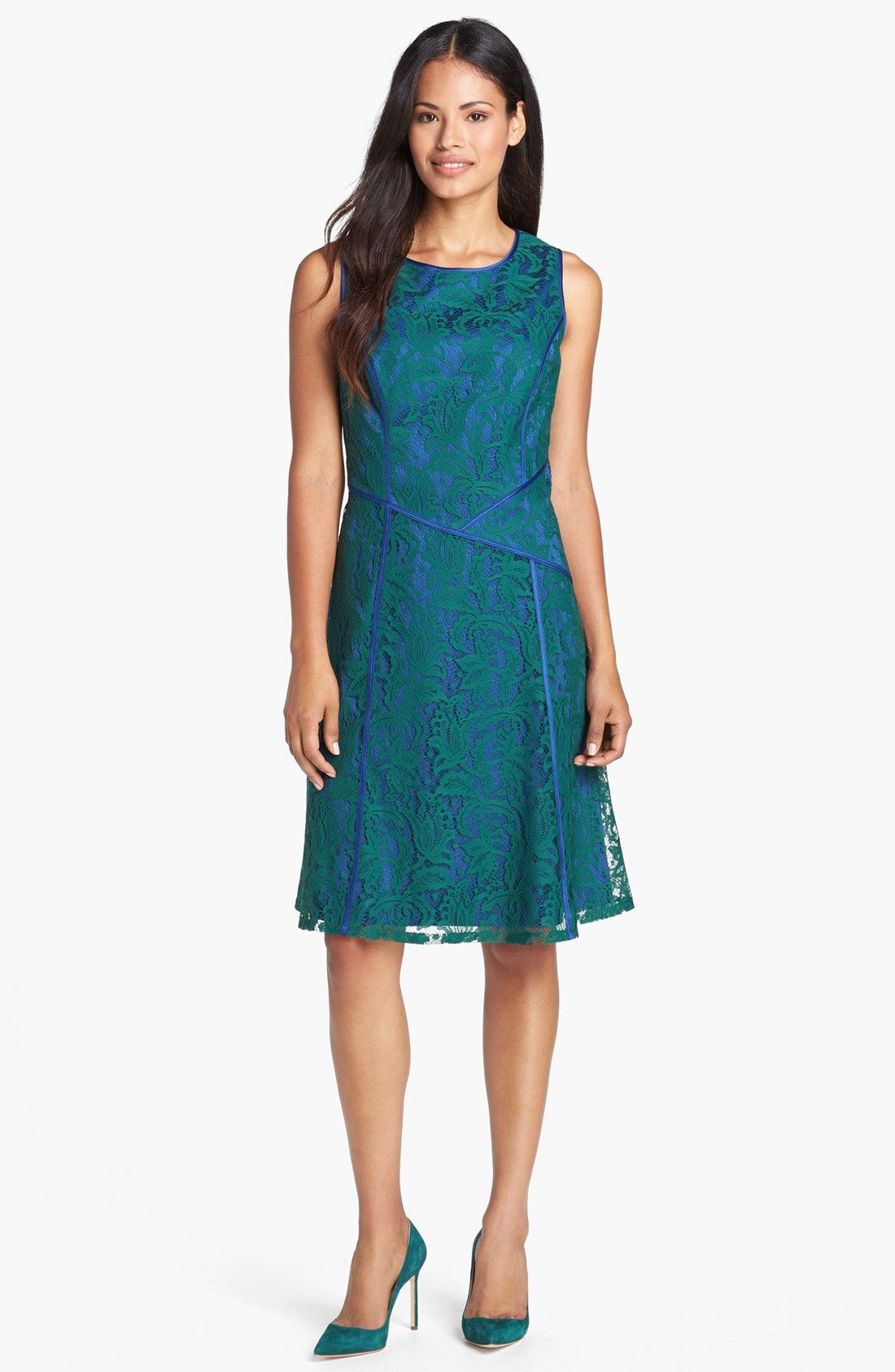 Adrianna Papell Lace Fit & Flare Dress (Regular & Petite ...