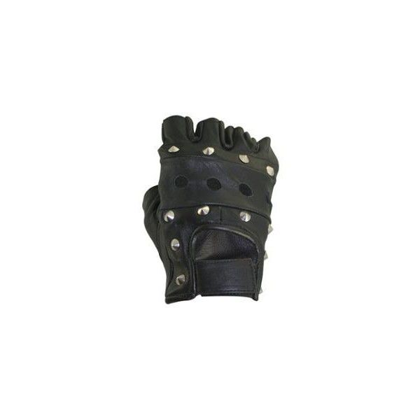 Men's Black Fingerless Studded Leather Biker Gloves ($5.95) ❤ liked on Polyvore featuring men's fashion, men's accessories, men's gloves, gloves, mens fingerless leather gloves, mens leather gloves, mens leather accessories and mens gloves
