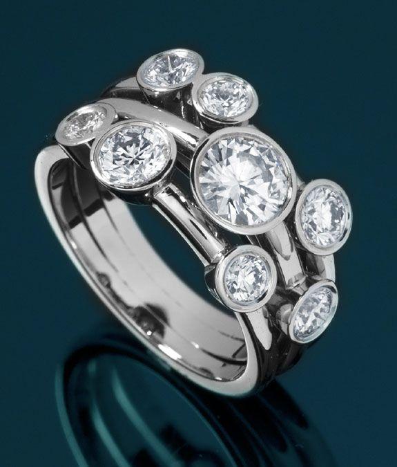 Raindance Style 8 Stone Bubble Ring - Bespoke Luxury Jewellery