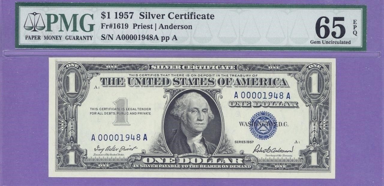 1957 Birth Year 100 Blue Seal Silver Certificate Aa Block Serial