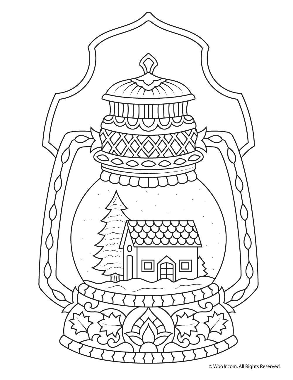 Winter Snow Globe Adult Coloring Page Coloring Pages Winter