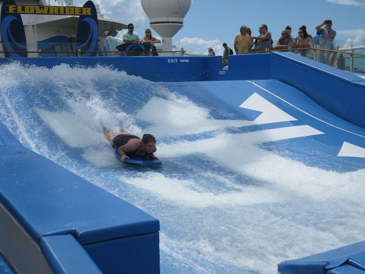 Adventure awaits those who desire the fun and thrills.  Like waterboarding or surfing while at sea.  Available on most recent and larger classes of ship by Royal Caribbean.