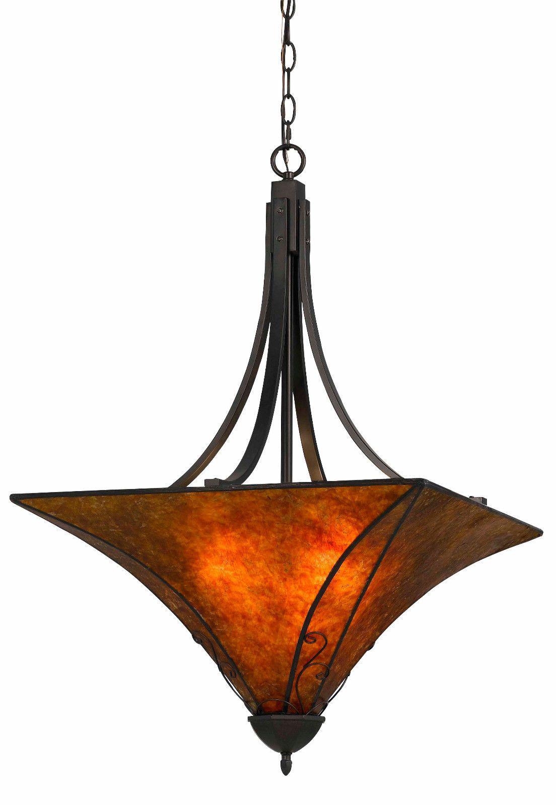 Mica Pendant Light Chandelier Art Deco Arts Crafts Design Bronze Iron Bell Curved Metal Fixture 22  Wide  sc 1 st  Pinterest & Mica Pendant Light Chandelier Art Deco Arts Crafts Design Bronze ...