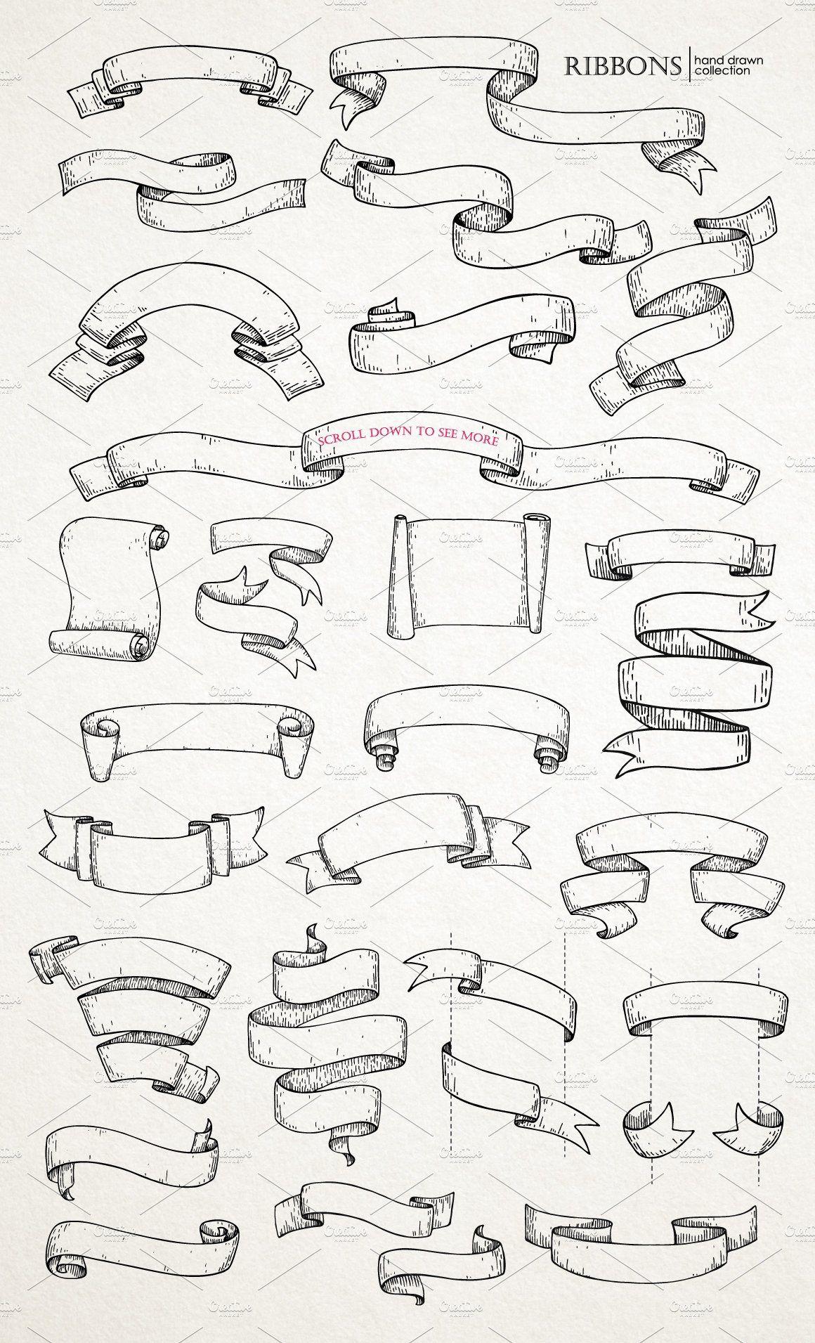 Ribbon Banners. Big Hand Drawn Set. by Epine on @creativemarket #ribbonart