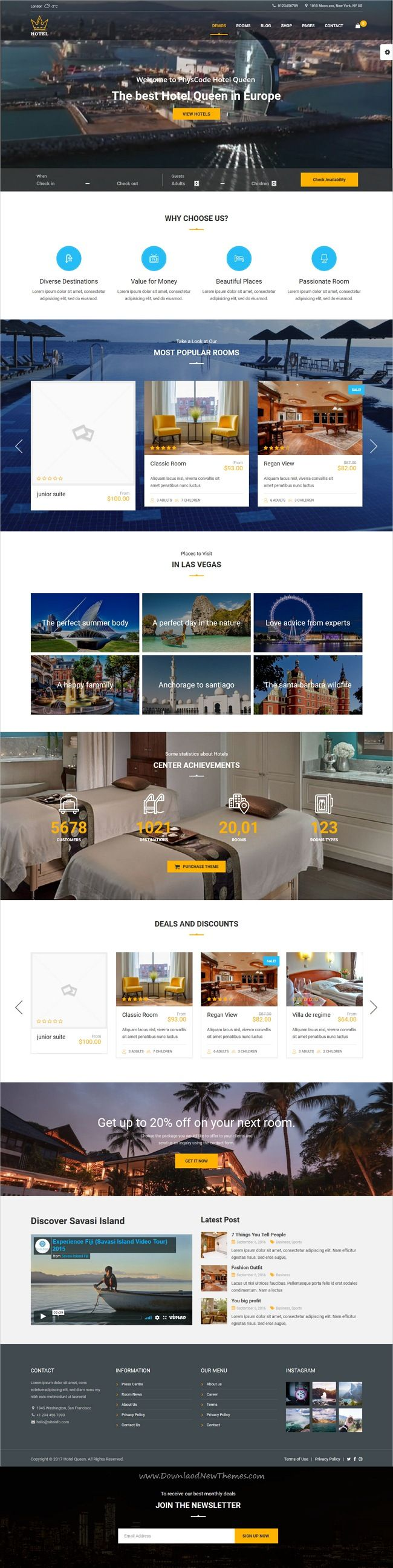 Hotel Queen Is Stylish And Modern Design 4in1 Responsive