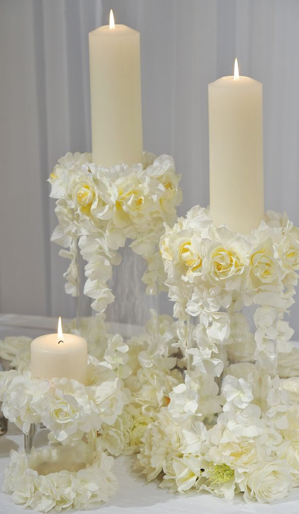 escort card table floral pillar candles httpinspirationsprestonbaileycom - Candle Decorations