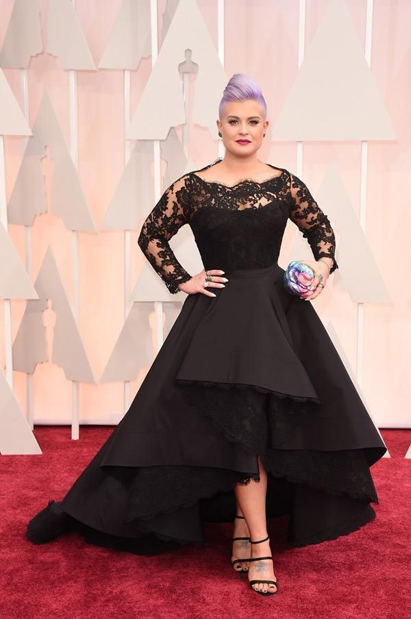 2015 Oscar Kelly Osbourne Celebrity Dress Long Sleeved Lace Scallop Black  High Low Red Carpet Sheer Evening Dresses Party Ball Gown Evening Dress  Designers ... f817e7205bff