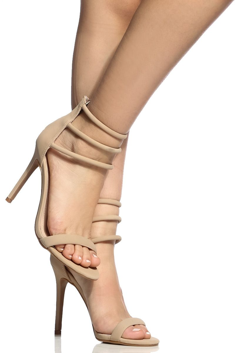 e7649616518a Buy Camel Faux Nubuck Multi Strap Single Sole Heels with cheap price and  high quality from Cicihot Heel Shoes online store which also sales Stiletto  Heel ...