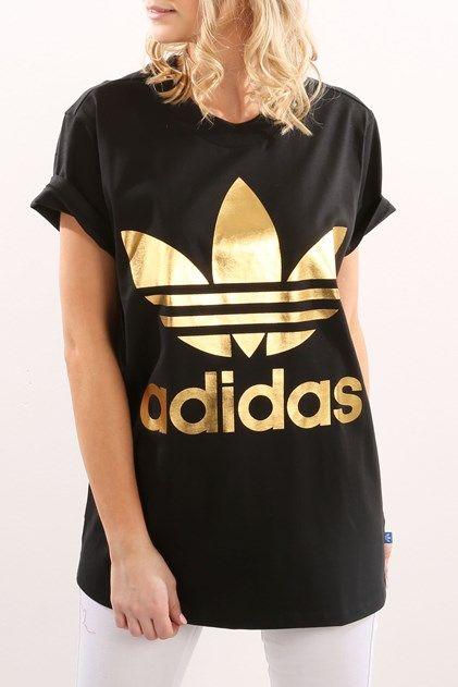 adidas trefoil t shirt gold